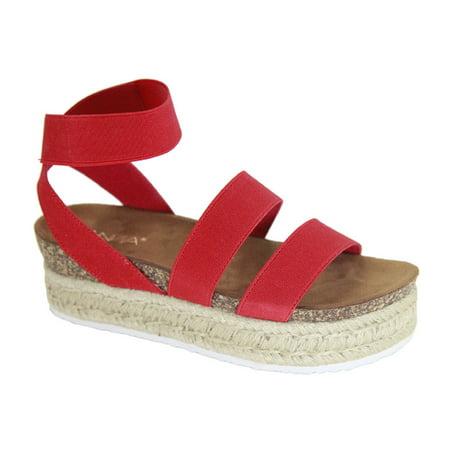 Bolton Women Espadrille Elastic Band Straps Flatform Platform Gladiator Sandal Red