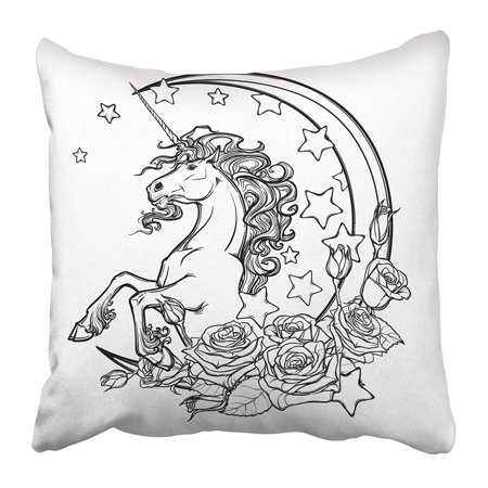 - ECCOT Kawaii Night Sky Composition with Roses Bouquet Stars and Moon Crescent Festive Pillowcase Pillow Cover 16x16 inch