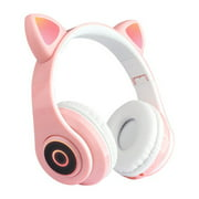 Newly Upgraded Version B39 Cat Ears Headphones Bilateral Stereo Wireless Headset Headphone For Kids Girls Support Music Voice Control Pink