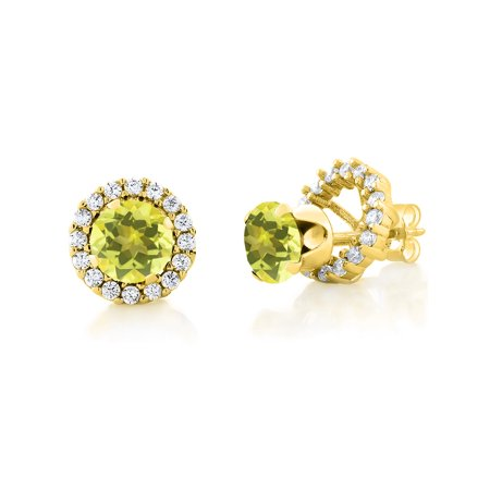 2.00 Ct 6mm Canary Mystic Topaz 18K Yellow Gold Plated Silver Stud (18k Yellow Gold Citrine Earrings)