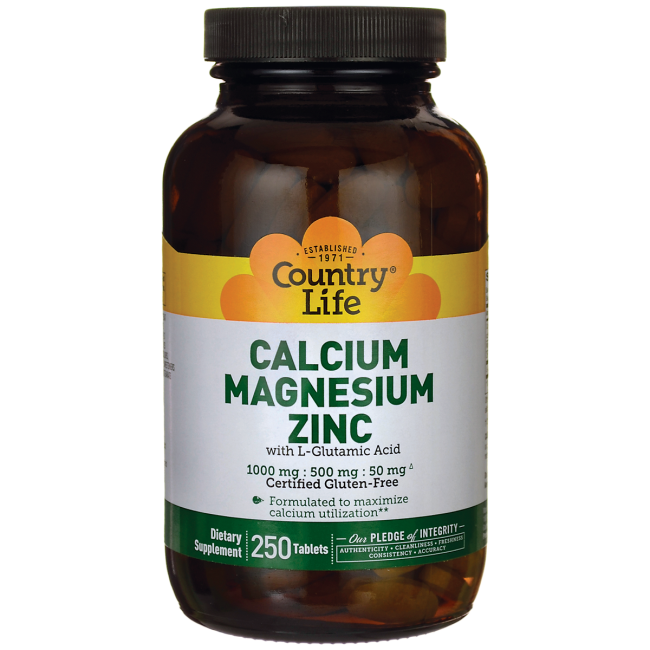 Calcium Magnesium Zinc with L-Glutamic Acid by Country Life 240 Tablets