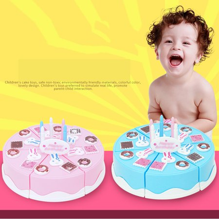 24Pcs Plastic Kitchen Cutting Toy Pretend Play Food Assortment Toy Set Birthday Cake for Kids DIY Style:Pink - image 4 de 6