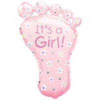 """XL 32"""" Pink Footprint It's A Girl Super Shape Mylar Foil Baby Shower Balloon"""