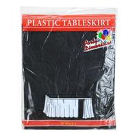 "Black 29""H X 14'L Plastic Disposable Party Table Skirt"