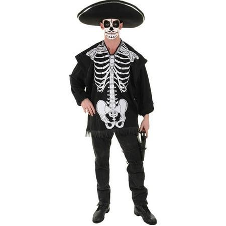 Skeleton Halloween Make Up (Skeleton Serape Men's Adult Halloween Costume, One Size,)