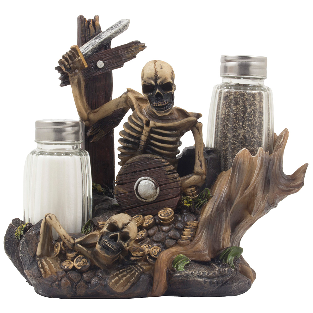 Spooky Skeleton Pirate Glass Salt and Pepper Shaker Set and Figurine Holder for Halloween Decorations and Buccaneer Kitchen Decor by Home 'n Gifts