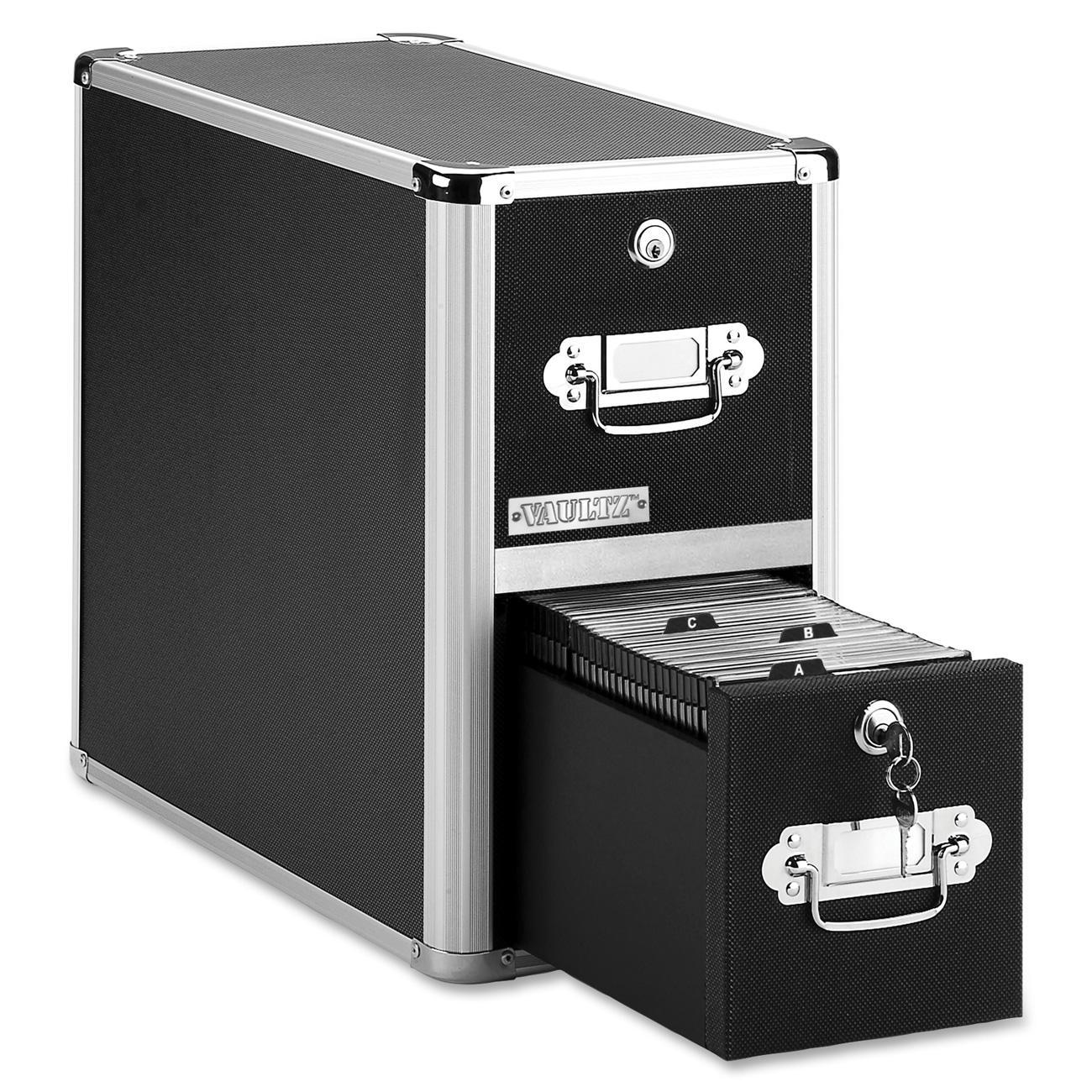 Vaultz, IDEVZ01094, Disc Locking CD/DVD Cabinets, 1 Each, Black