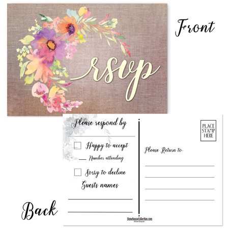 How To Fill Out A Wedding Rsvp.50 Rustic Floral Rsvp Postcards Reply Postcards Are 4 X 6 Inches Wedding Rsvp Cards