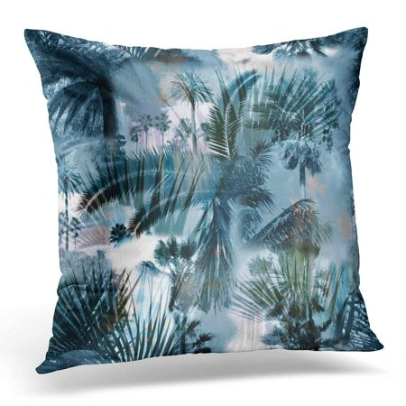 - USART Black Tropical Monochrome Color Overlay Effect Palm Leaf Banana Leaves Trees on Clouds Exotic for Blue Pillow Case Pillow Cover 20x20 inch
