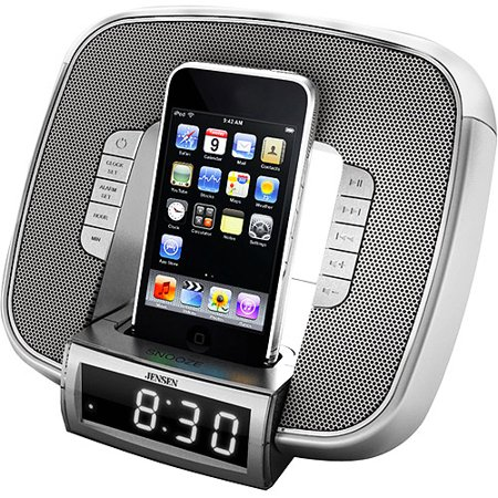 jensen dual alarm clock speaker system with am fm radio. Black Bedroom Furniture Sets. Home Design Ideas