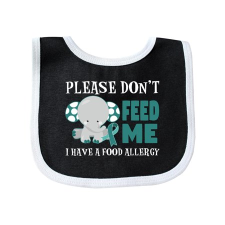 Please Dont Feed Me I Have a Food Allergy with Elephant and Ribbon Baby Bib Black/White One