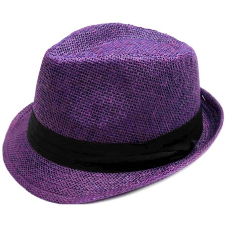 Fashion Design Straw Fedora Hat Trilby Cap w/Short Brim, Purple L/XL