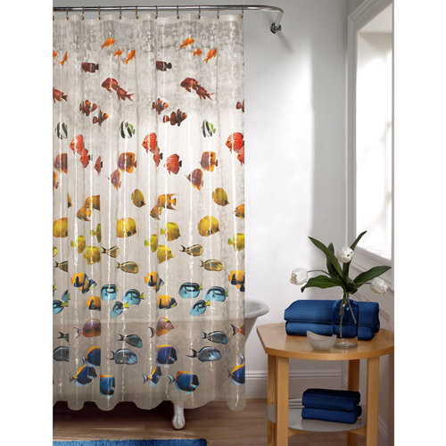 Mainstays Fish PEVA Shower Curtain