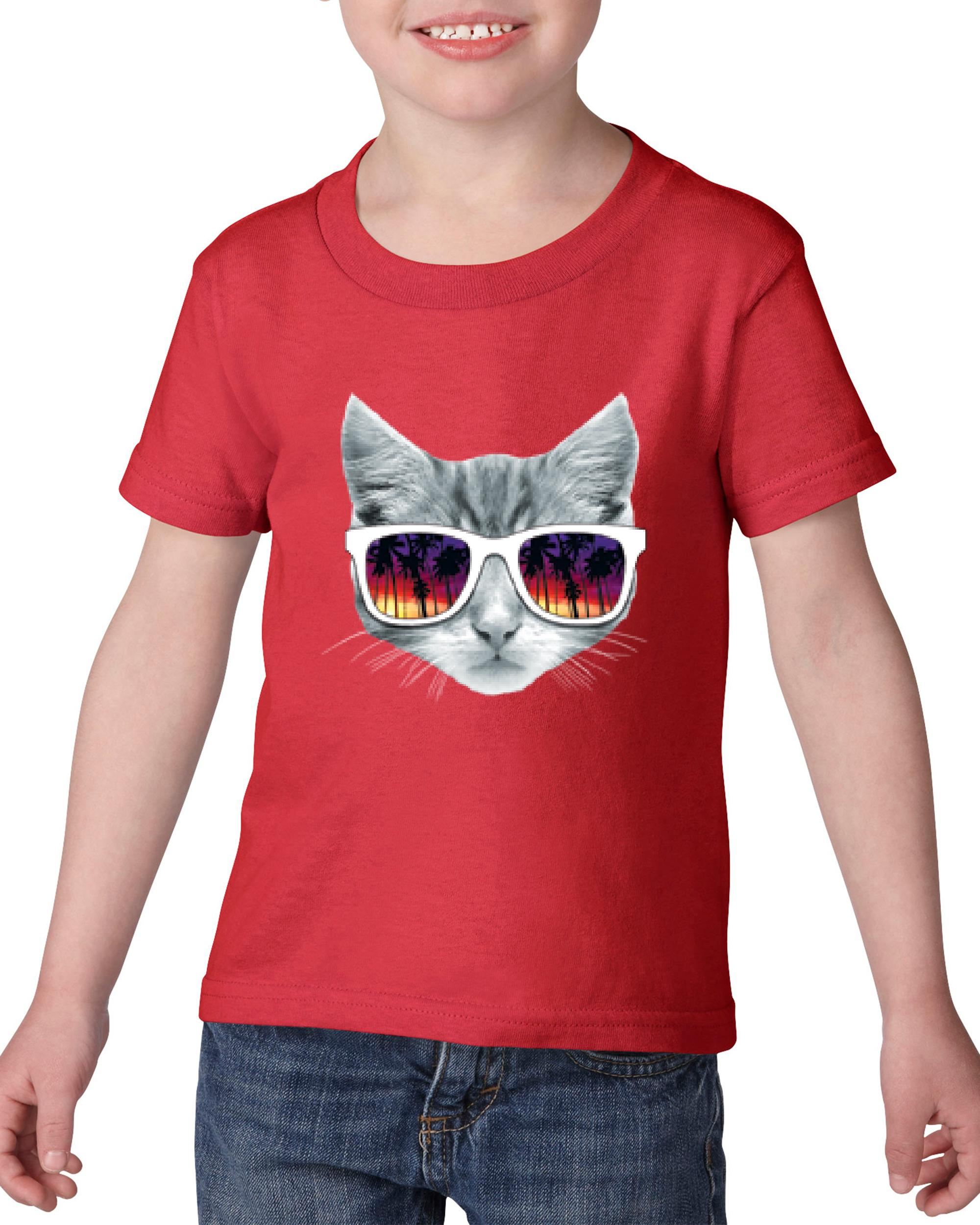 Artix Kitty with Sunglasses Love Pets Dogs Cats Cat Lovers Birthday Gift Heavy Cotton Toddler Kids T-Shirt Tee Clothing