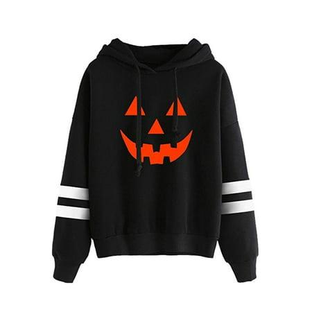 LEFASHION Women Color Block Pumpkin Graphic Print Halloween Long Sleeve Hoodie - Halloween Pumpkin Ideas For Kids