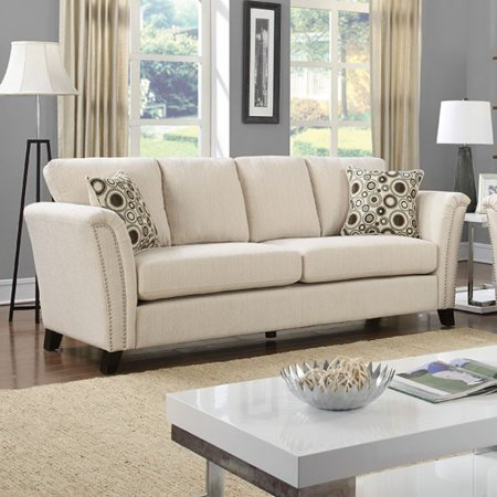 Campbell Contemporary Style Sofa With Nail Trim, Ivory ()