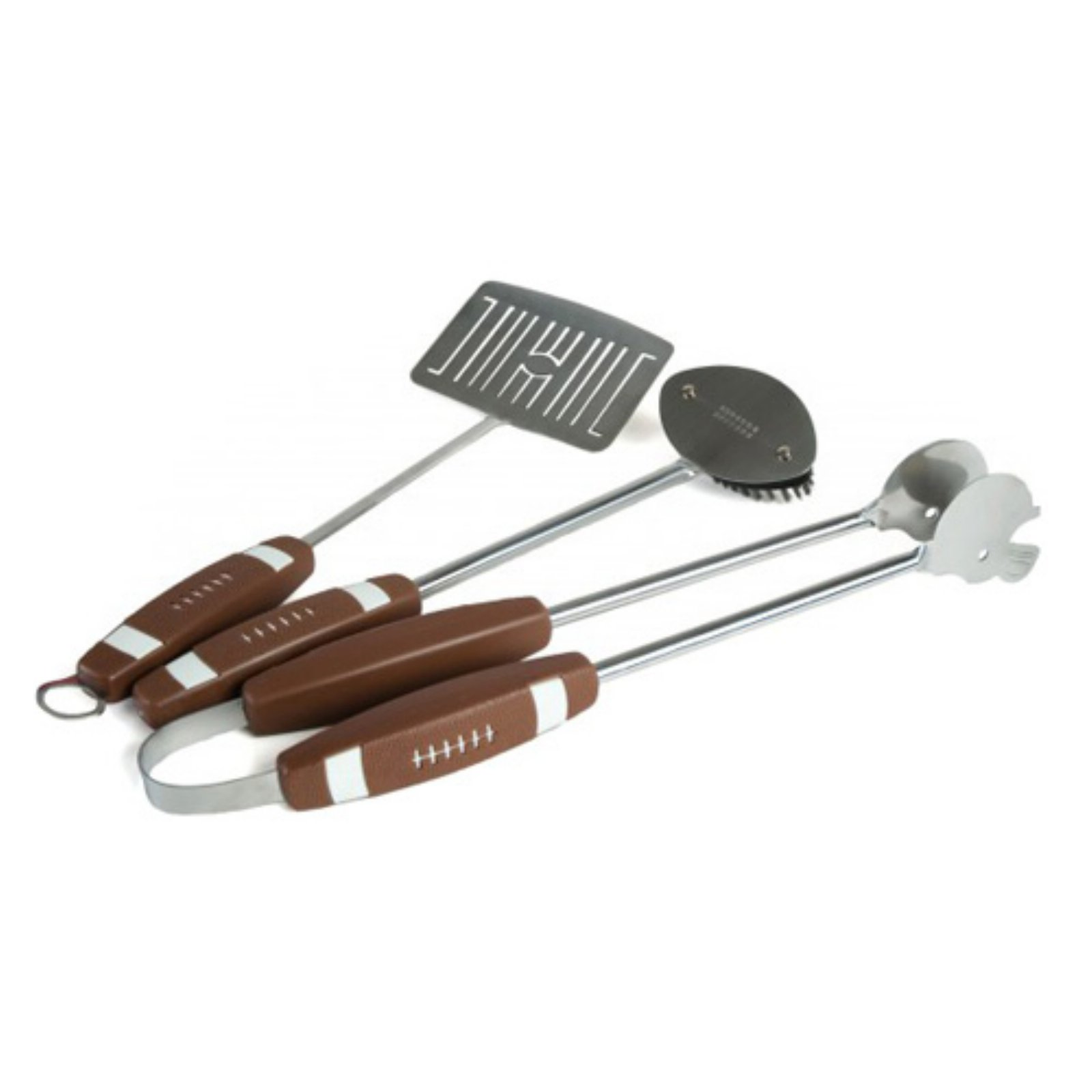 The Charcoal Companion 3pc Football BBQ Tool Set, includes Spatula, Tongs and Grill Brush, CC1043