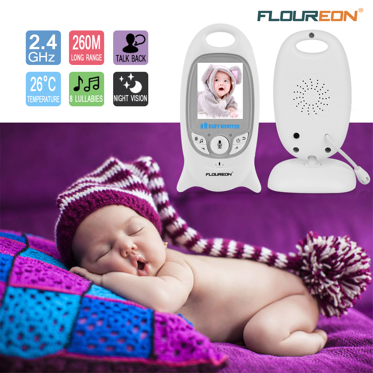 FLOUREON Video Baby Monitor Wireless with Digital Camera Night Vision 2 Way Audio Temperature Monitoring Lullabies Long Range and High Capacity Battery for Security 2.0inch LCD Screen