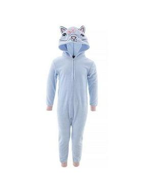 St. Eve Girls' Big Micro Fleece Hooded Blanket Sleeper, Blue Raccoon, Size: 14/16