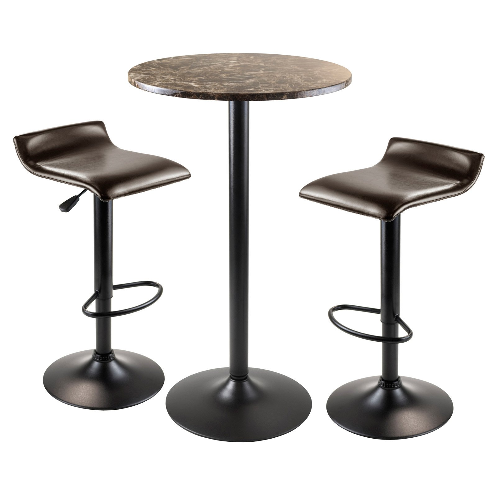Cora 3pc Round Pub Table with 2 Swivel Stools by Winsome Wood