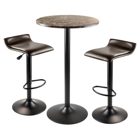 Winsome Wood Cora 3pc Round Pub Table w/ 2 Airlift Swivel Stools ()