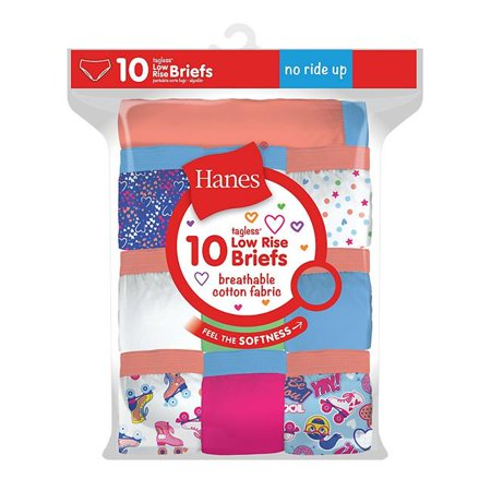 a191c92c70a1 Hanes 738994414601 Girls Tagless Low Rise Assorted Color Briefs - Size 14,  ...