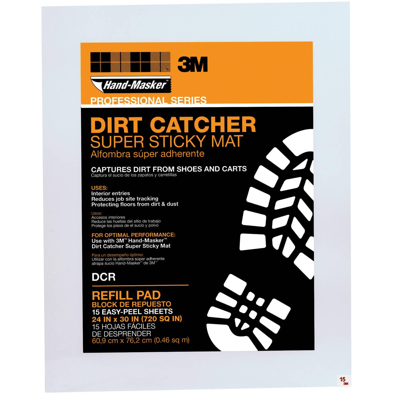 """3M DCR 24"""" X 30"""" Dirt Catcher Super Sticky Mat Refill Pad 15 Count"""