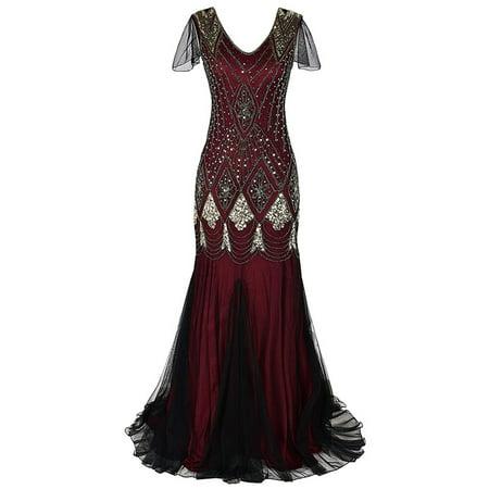 Vintage Women Sequins Maxi Dress Beaded Flapper 1920s Gatsby Club Party Gown Mermaid Dress - 1920s Dress Cheap