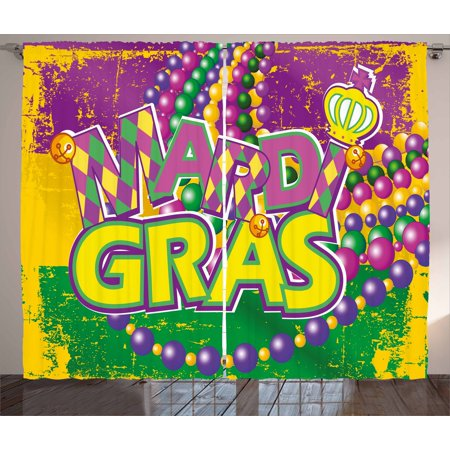 Mardi Gras Curtains 2 Panels Set, Grunge Background with Colors Vivid Beads Vintage Letters Joyful Print, Window Drapes for Living Room Bedroom, 108W X 108L Inches, Purple Green Yellow, by Ambesonne
