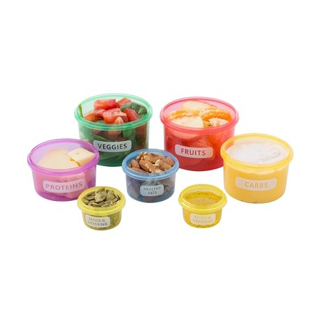 Side Container (7 Piece Portion Control Container Set Multi-Colored Perfect sized Food Storage Boxes with Leak proof Lids for Diet Meal Preparation By Kitchen Winners)