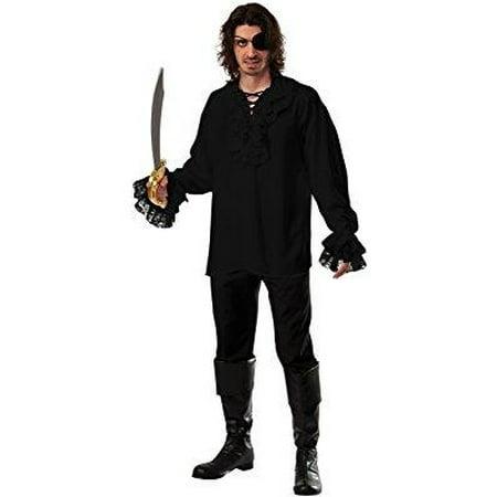 rubie's costume co men's ruffled cotton dark pirate shirt, black, standard](Ruffle Shirt Mens)