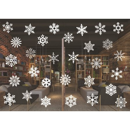 Decal ~ Christmas Decal ~Snow Flakes CHRISTMAS Decal ~ WALL OR WINDOW DECAL, Qty 30