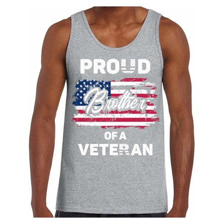 Awkward Styles Proud Brother of a Veteran Men Tank Top USA Gifts Patriotic Brother Shirt One Nation American Flag Tank for Brother Independence Day Pro America Brother Top Proud American