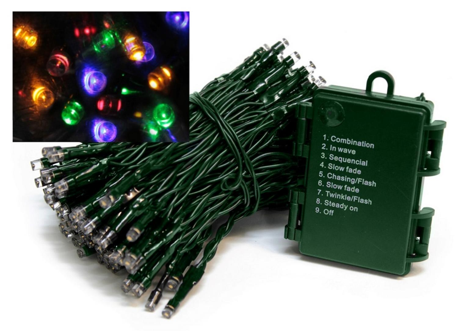 set of 1152 battery operated multi function cool white led wide angle christmas lights green wire walmartcom - Multifunction Christmas Lights