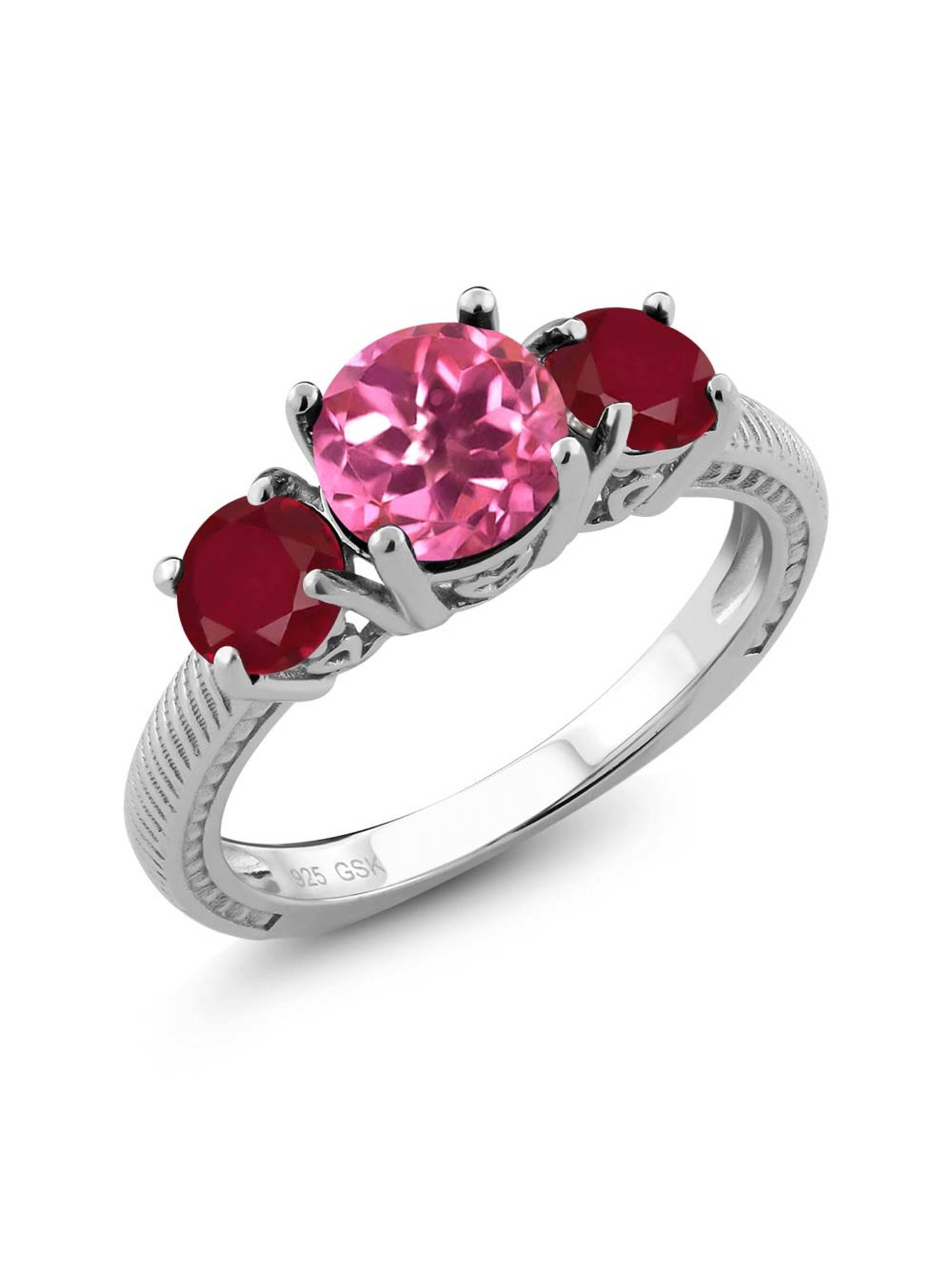 2.40 Ct Round Pink Mystic Topaz Red Ruby 925 Sterling Silver 3 Stone Ring by