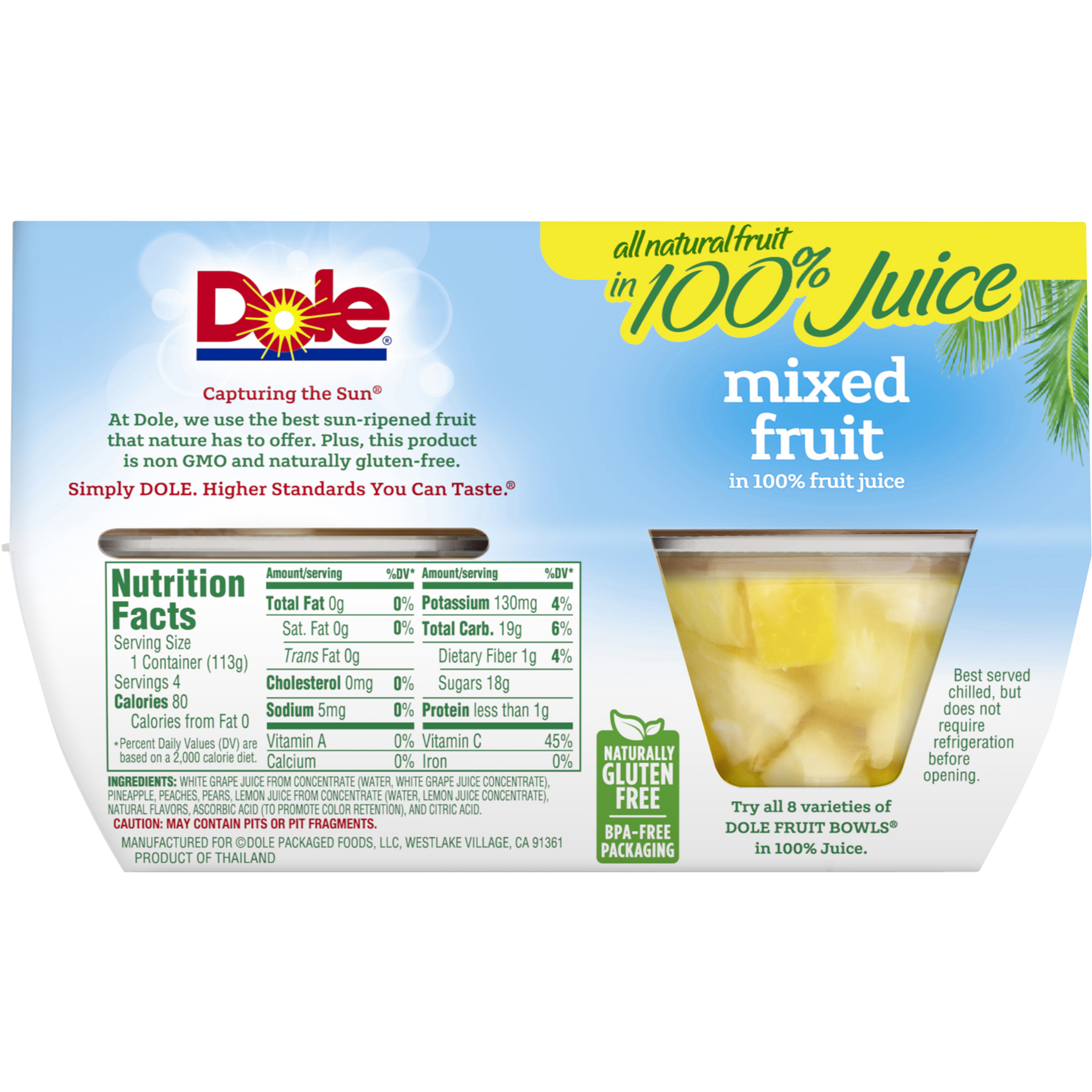 Dole Fruit Bowls Mixed Fruit in 100