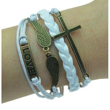 Angel Leather (Fashion Jewelry vintage bronze love angel wings cross charms white braided leather rope bracelet -23 )
