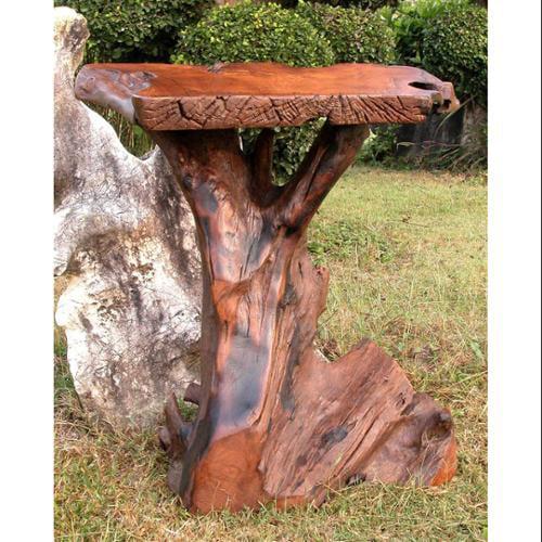 Tree Trunk Teak Wood Pub Table