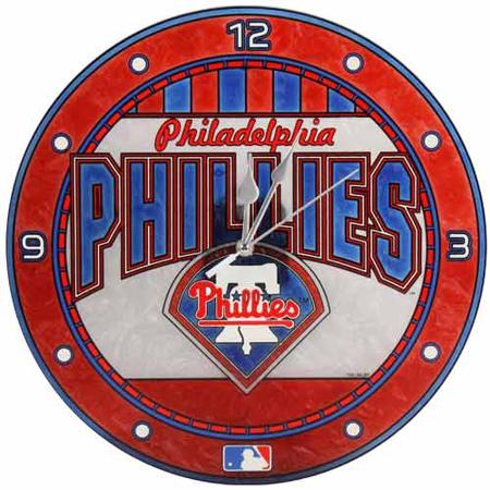 Philadelphia Phillies Art Glass Wall Clock - No Size