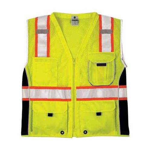 ML KISHIGO 1513-5X Safety Vest, Black Panels, Lime, 5X