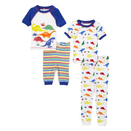 Graphic and Print Short Sleeve Tops, Sleep Shorts and Pants, 4-Piece Pajama Set (Little Boys & Big (Pajama Set Snowman)