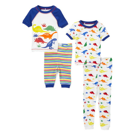 Graphic and Print Short Sleeve Tops, Sleep Shorts and Pants, 4-Piece Pajama Set (Little Boys & Big (Embroidered Print Pajama Set)