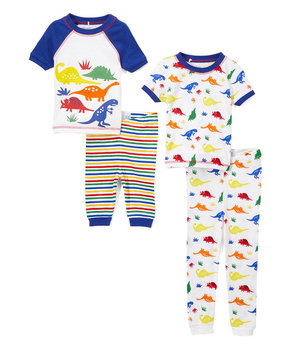 Boys' Mini Dinosaur Print 4 Piece Pajama Sleep Set (Little Boy & Big Boy)