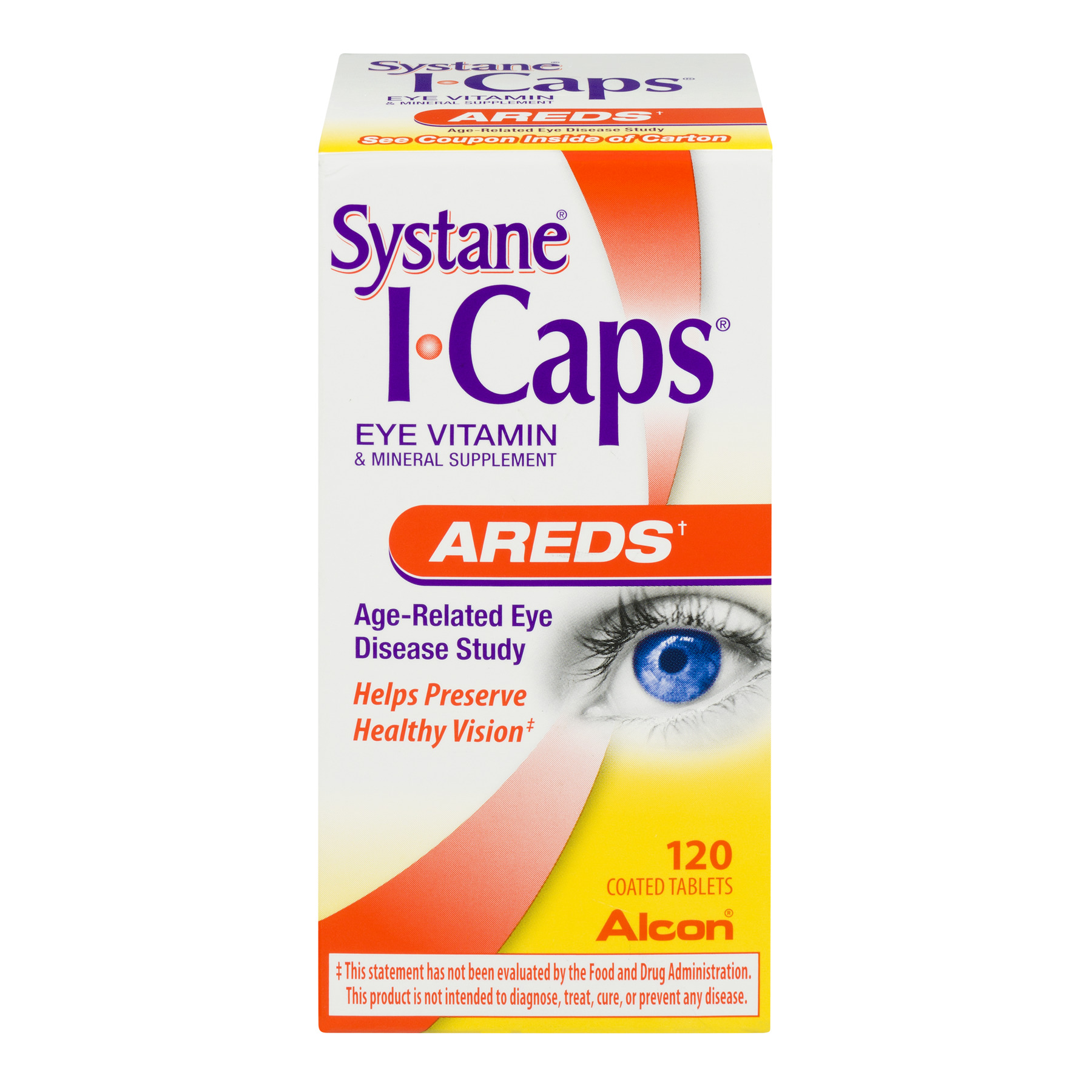 I-Caps Areds Formula Eye Vitamin & Mineral Supplement Coated Tablets - 120 CT