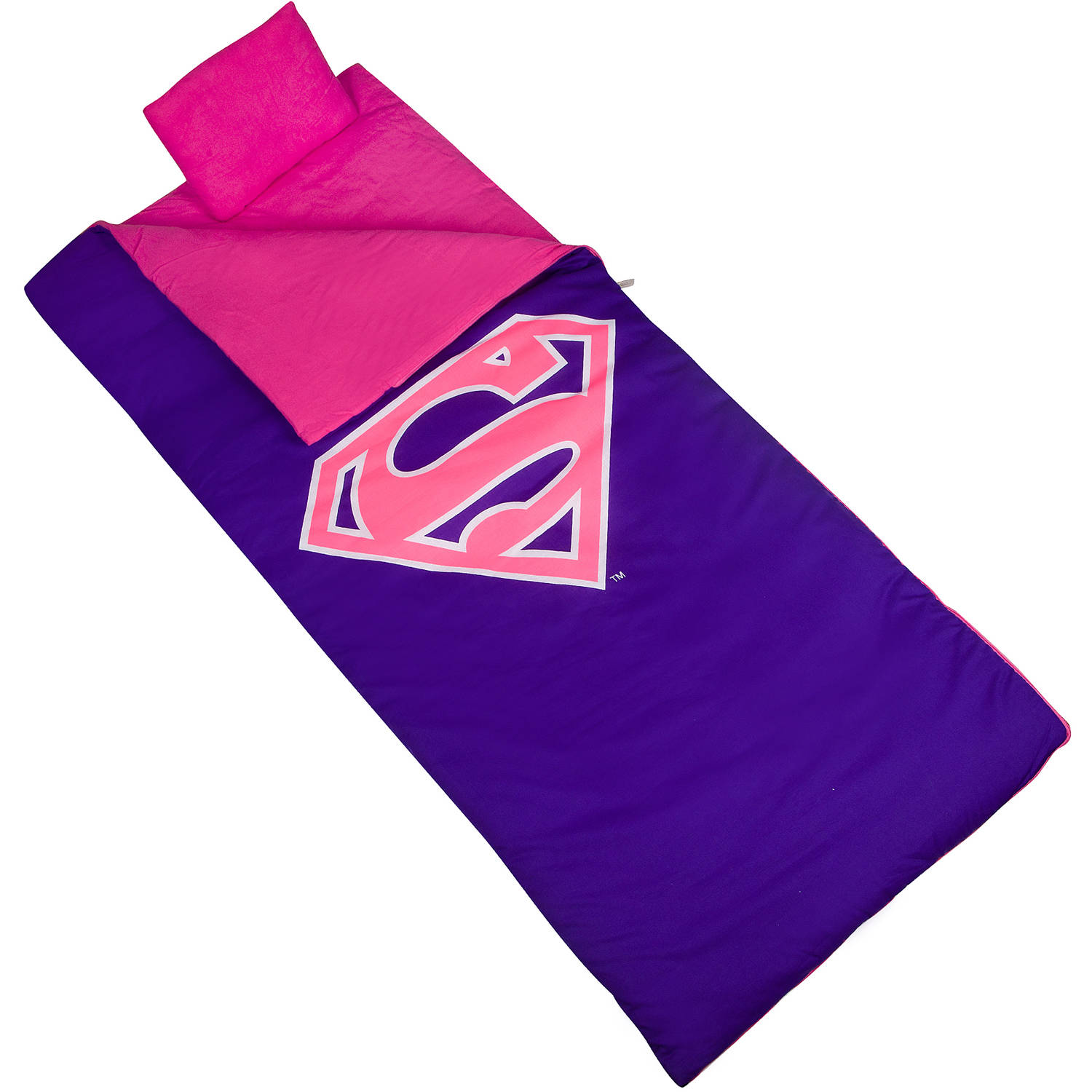 Wildkin Kids' Superman Shield Sleeping Bag, Pink