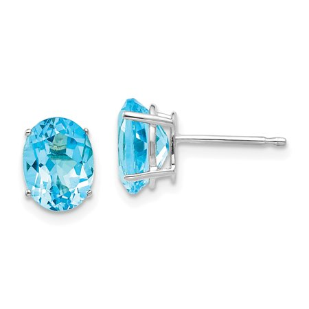 14K White Gold 8x6mm Oval Blue Topaz Stud Earrings