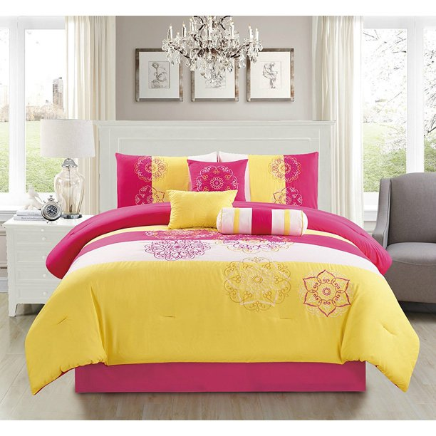 Embroidered Comforter Set Hot Pink