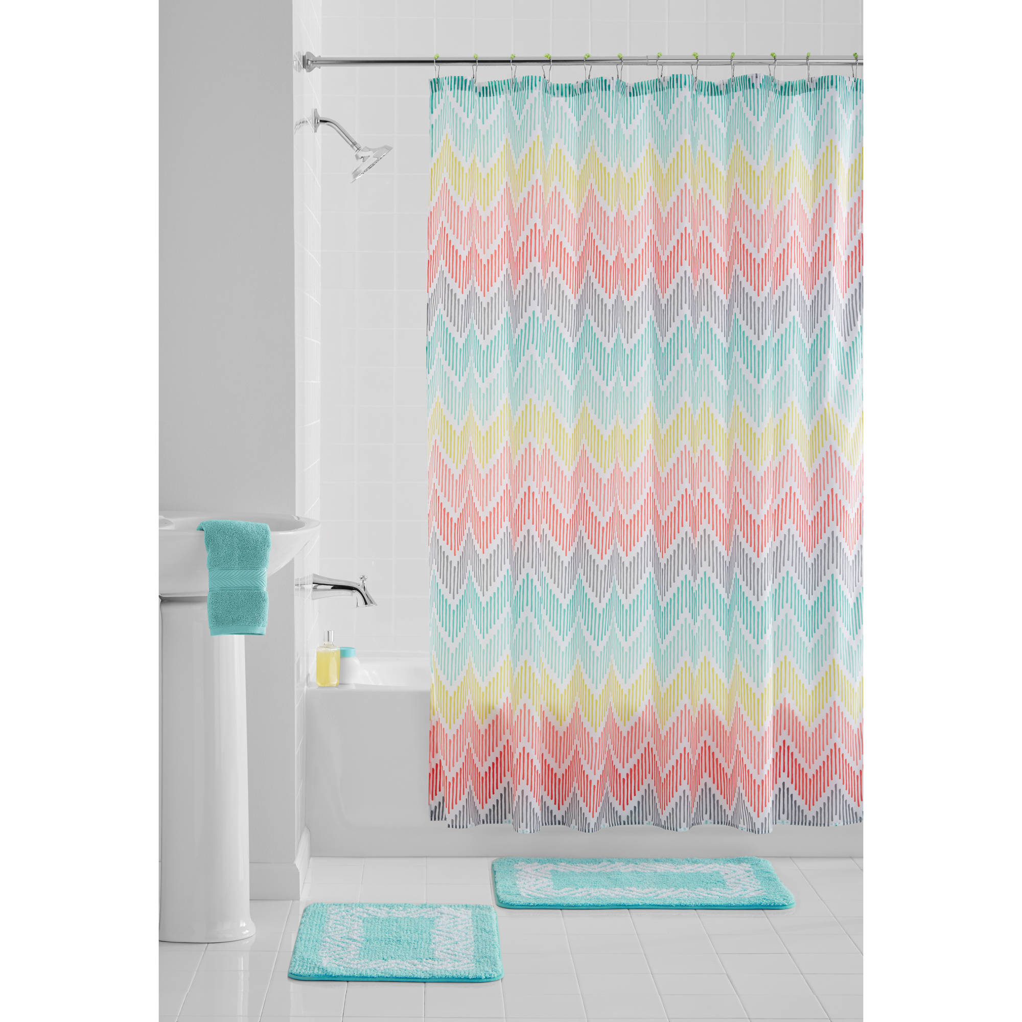 Mainstays Multi-Color Chevron 15-Piece Polyester Bath in a Bag Set, Shower Curtain and Bath Rugs Included