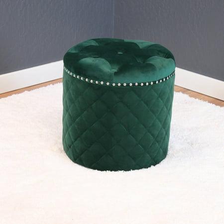 Lemele Round Velvet Ottoman Emerald Green (Pacific Sling Ottoman)