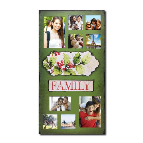 Adeco Trading 9 Opening Decorative Christmas Holiday ''Family'' Wall Hanging Collage Picture Frame